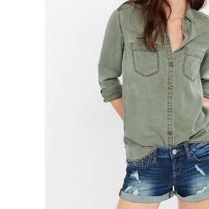 Express Boyfriend Army Green Button Down Shirt